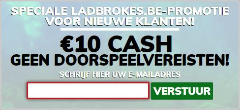10 euro gratis bij Ladbrokes.be zonder doorspeel voorwaarden