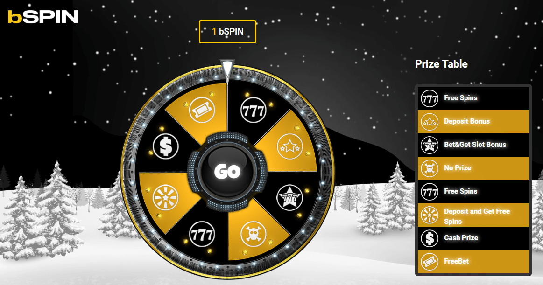 bSPIN kerst promotie bij Bwin.be